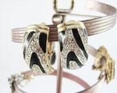 Zebra Earrings, Black Enamel and Rhinestone Earrings, Gold and Black Earrings, Girly Earrings, Clip On Earrings, Vintage Zebra Jewelry