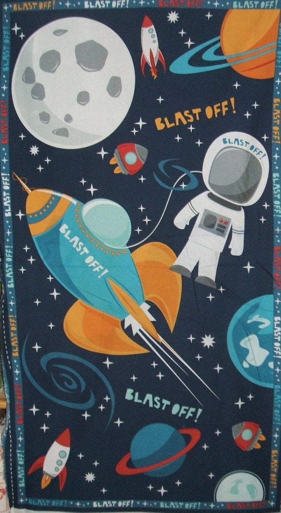 Multi blast off rocket astronaut childrens moon space for Space themed fleece fabric