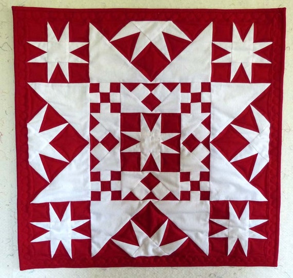 Red and white star wall hanging or table topper quilt all solid and modern