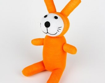 Handmade Orange Sock Rabbit Bunny Stuffed Animal Doll Baby Toys Kid birthday Gift