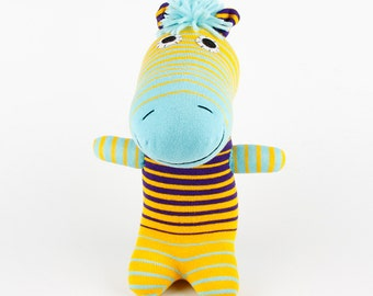 Free Shipping Handmade Striped Sock Zebra Stuffed Animal Doll Baby Toys