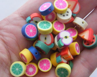 100 Polymer clay fruit beads B158 - SALE 50% OFF