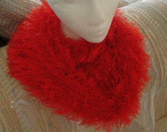 Bright Red Cowl Neckwarmer Thick, Soft and  Warm Fun Fur