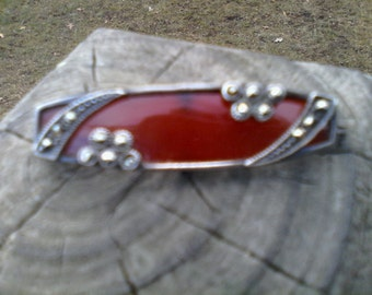 antique sterling marcasite carnelian pin brooch