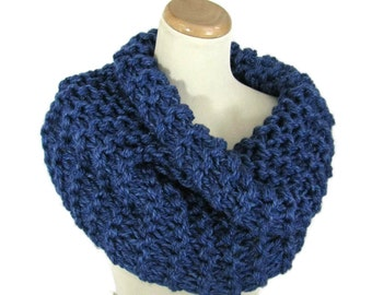 Sale Bulky Cowl, Hand Knit Cowl, Knit Scarf, Outlander Inspired Cowl, Circle Scarf, Blue Scarf, Winter, Infinity Scarf, Chunky Scarf