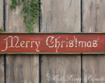 Early Antique Reproduction Primitive Wooden Merry Christmas Sign