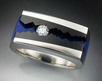 14k White Gold Man's ring with Black Jade, Lapis & Diamond