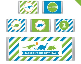 Dinosaur Party - Personalized DIY printable chocolate bar labels