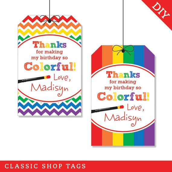 Art Party Personalized DIY Printable Favor Tags