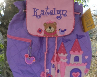 Princess bear Stephen Joseph quilted backpack,personalized girl backpack,diaper bag,baby shower gift,girl birthday gift