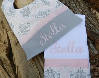Girl bib and burp cloth set,personalized bib and burp cloth set,baby shower gift