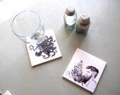 Sailor Beard - Illustration- Coaster- ceramic- house- gift- beard- manly- holiday