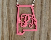 Monogram My State Acrylic Necklace - Acrylic Monogram Jewelry - Bridesmaid Gifts - Teacher Gifts - Vine or Circle Font
