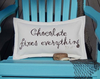 """Outdoor pillow CHOCOLATE FIXES EVERYTHING brown on white 12""""x20"""" handpainted theobroma chocoholic foodie Crabby Chris Original"""