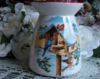 Birds of  Winter Ceramic Tea Light Tart Burner