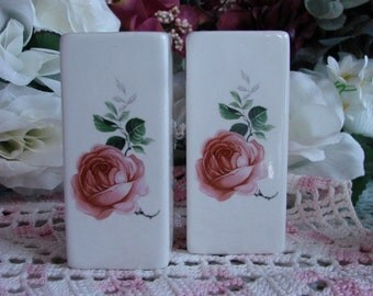 A Pair of Tiny Square Ceramic Vases  with Pink Rose Blossoms