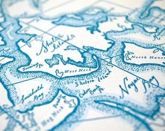 Southampton, Long Island NY, Letterpress Map Art Print