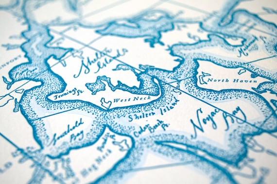 Southampton Long Island Ny Letterpress Map Art Print