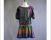 Vintage Chacok Grey Plaid Cotton Dropped Waist Dress 80s/90s