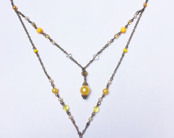 Sunny Double Necklace with Yellow Blown Glass & Pearl Pendant