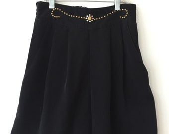 Adorable High Waisted Tap Shorts with Pleats & Rhinestone Detailing