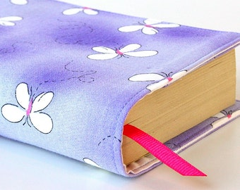 Paperback book cover for mass market books, Reusable book cover, Fabric book cover - Butterflies