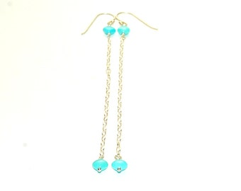Genuine Turquoise Earrings - Shoulder Duster - Blue - Sleeping Beauty Turquoise - Sterling Silver Chain