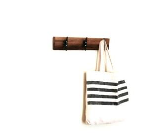 "Handmade Boat Cleat Coat Rack. 18"" Walnut Modern Coat Hanger. Organizer. 3 Hooks. Rustic. Spring Home finds."