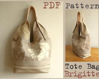 PDF Sewing Pattern to make Tote Bag Brigitte Flower easy sewing tutorial Buy one tutorial and get one free