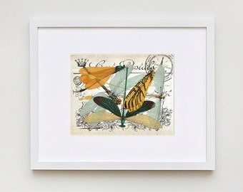 Vintage Postcard DRAGONFLY Art Print - Antique French Collage Illustration 8x10 DESIGN 02