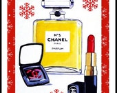 Handmade Personalised Card Birthday Christmas thank you chanel perfume Lipstick makeup Mum Daughter Friend 7 x 5 inches from art
