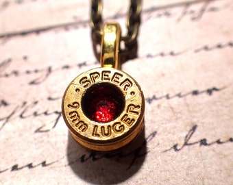 9mm bullet casing necklace brass bullet shell up cycled jewelry with crystal in center