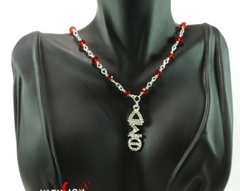 Delta Sigma Theta Red Crystal Greek Letter Necklace (Silver)  ****Plus FREE Gift