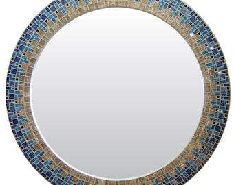 Round Wall Mirror - Blue & Beige Mosaic