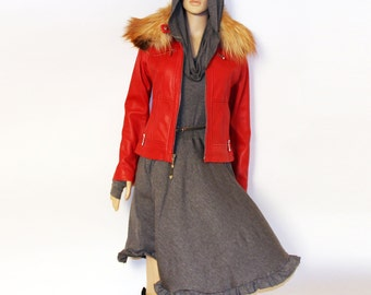 Cowl hooded dress woman dress thumbholes dress
