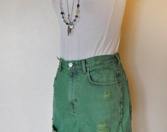 """Green 28"""" Waist Vintage Calvin Klein Denim SHORTS - Hand Dyed Green Urban Style Denim High Rise Vintage Calvin Klein Shorts - Size 6 (28"""")"""