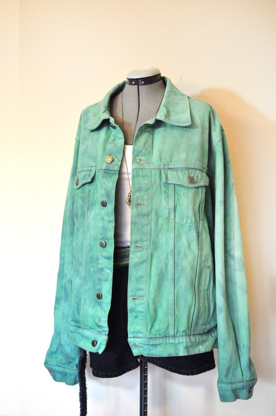 Mint Mens XL Denim JACKET Celadon Green Hand by DavidsonStudio