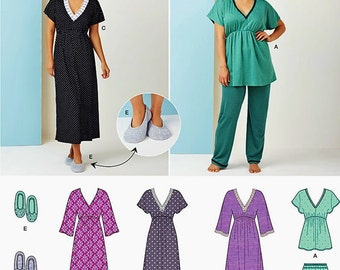 Nightgown Pattern, Easy Pajamas Pattern, Easy Slippers Pattern, Sz 4 to 26, Simplicity Sewing Pattern 1260