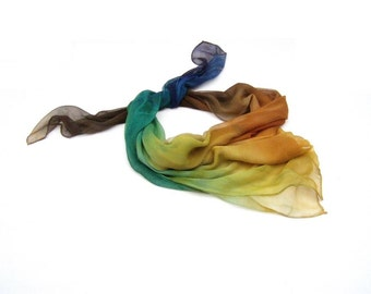Hand painted silk scarf ombre colorful fashion pure silk shawl Earth shades gift for women, Early Mother's Day Ideas, Gift for Guests