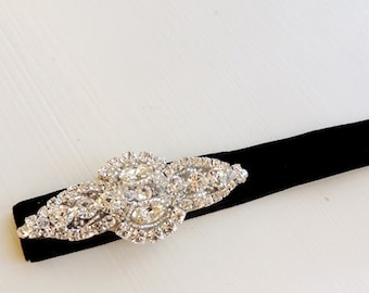 Rhinestone Element  Black Velvet  Headband Crystal Headband, Rhinestone, Wedding Headband, Bridesmaid Headband, Headpiece
