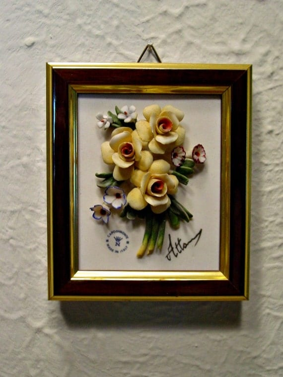 Vintage Capodimonte Floral Wall Plaque Yellow Roses