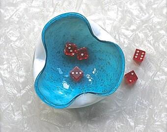 Venetian Glass, Mid Century Murano Venetian Glass Ash Tray Turquoise White Organic   H