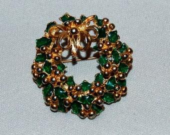 Vintage / Christmas / Wreath / Brooch / Enamel / Emerald / Green / Old Jewelry / jewellery