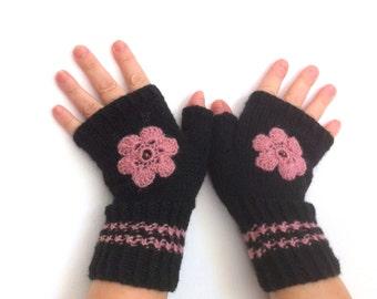 Fingerless  gloves,melange  wool  yarn, knit gloves  free  shipping