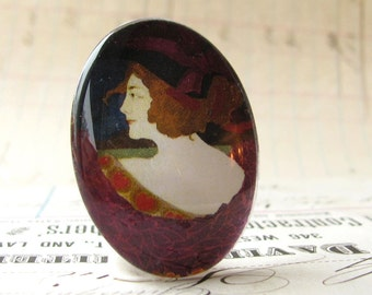 Art Nouveau Woman in Purple, handmade 40x30 40x30mm 30x40mm 40 30 mm glass oval cabochon, black, brown, vintage fashion