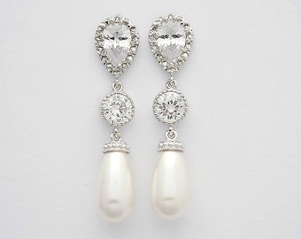 Wedding Pearl Earrings Cubic Zirconia Bridal Jewelry Silver with Cream OR White Ivory Swarovski Pearl Drops Wedding Jewelry, Adalyn