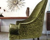 MOD-LOVE SALE! Mid Century Danish Modern Lounge Chair 1960s Green Pearsall Style Living Room Chair