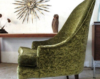 Mid Century Danish Modern Lounge Chair 1960s Green Pearsall Style Living Room Chair