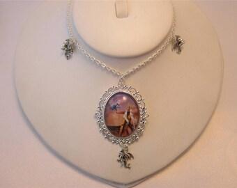 Dragon Tamer glass cabochon necklace with 3 dragon charms and Dragon Mother image -  Khaleesi - princess