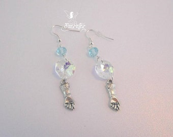 Snow Queen crystal and ice blue glass bead earrings with gloves